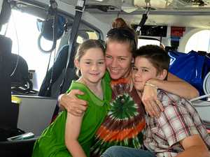 MIRACLE: Gympie mother Kate Bailey thanks LifeFlight for saving her two children Aneeka and Cooper Bailey-Bauer in an emotional reunion at the Sunshine Coast helicopter base.