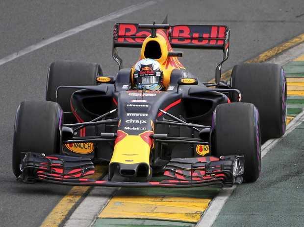 Red Bull driver Daniel Ricciardo of Australia steers his car during qualifying for the Australian Grand Prix in Melbourne.