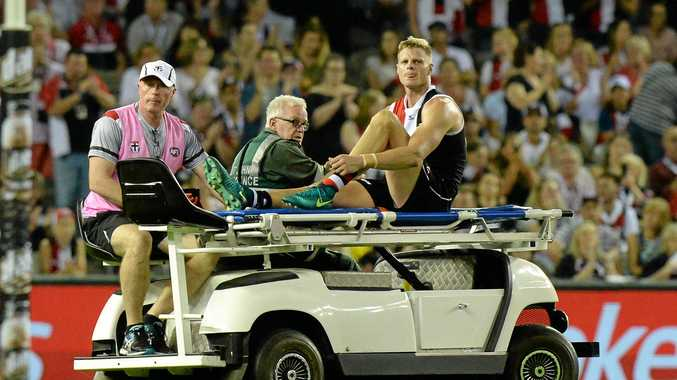 Nick Riewoldt is taken off the field after being injured.