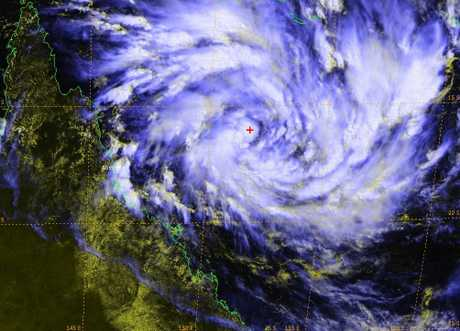 Cyclone Debbie forming in the Coral Sea.