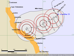 Cyclone Debbie track map