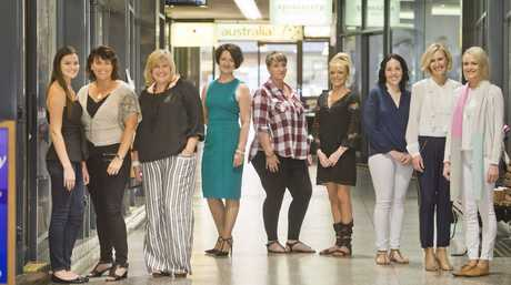 (from left) Tayla and Kerry Noll, Judy Wallace from Oriri Boutique, Mandy Thurgar from Apothecary, Tiffany Shannon from Bella Chic Beauty, Hayley Hoefler from Evoke Clothing, Marissa Thompson from Little Chiefs Boutique and Donna Mills and Alexandria Cook from Florence and Marabel Collections. . Wednesday 06 Apr , 2016.