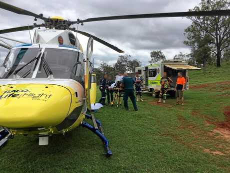 BIKE CRASH: The man in his 20s had been riding his motorbike over a jump when he lost control and was thrown over the handlebars, injuring his ankle.