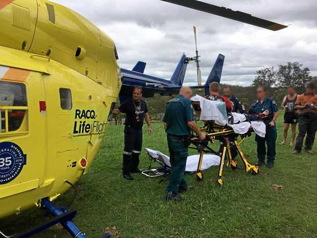 BACK-TO-BACK: The Bundaberg-based RACQ LifeFlight Rescue crew had back-to-back rescues yesterday, firstly called out to man injured in a motorbike at Manar Park before immediately flying to a woman in her 60s suffering from an unknown medical condition.