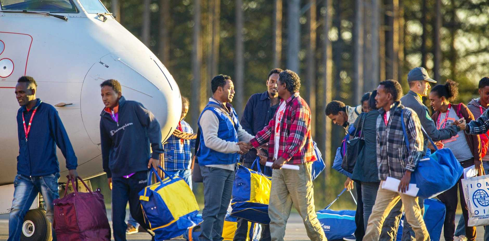 Eritrean asylum seekers arrive in Sweden for resettlement.