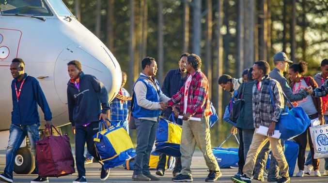 Eritrean asylum seekers arrive in Sweden for resettlement.