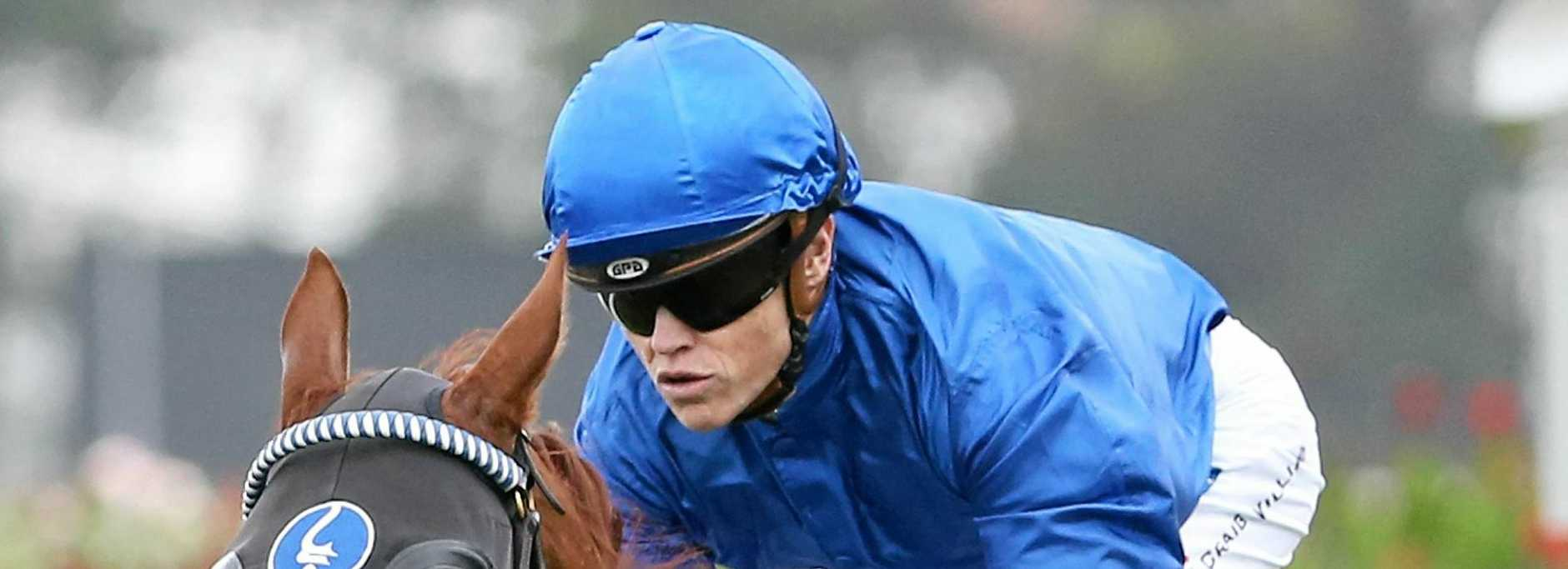 LUCKY: Jockey Craig Williams escaped serious injury in a fall after the winning post in Saturday's Mornington Cup.