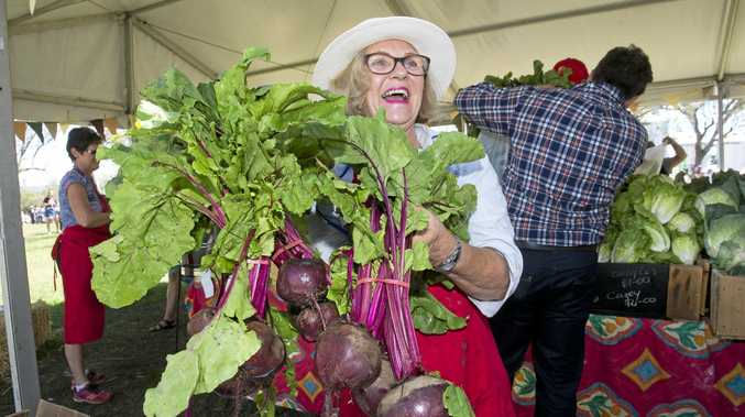 Anne Todd with beautiful beetroot at the Felton Food Festival.  Sunday Mar 26, 2017.