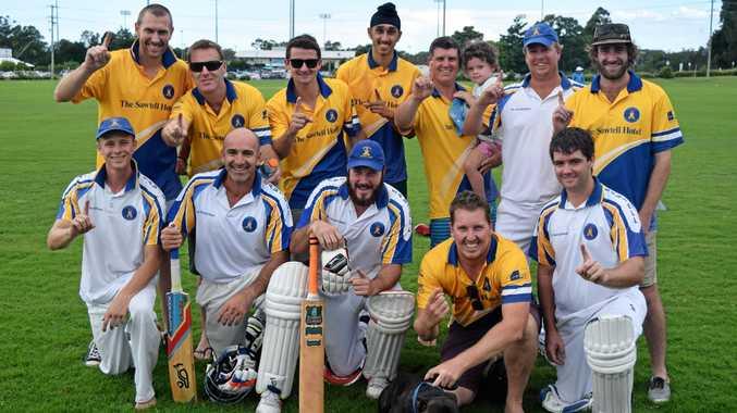 Sawtell celebrates winning back-to-back CHDCA first grade premierships. cricket 25 March 2017 Coffs Coast Sport and Leisure Park CHDCA grand final Photo: Brad Greenshields/Coffs Coast Advocate