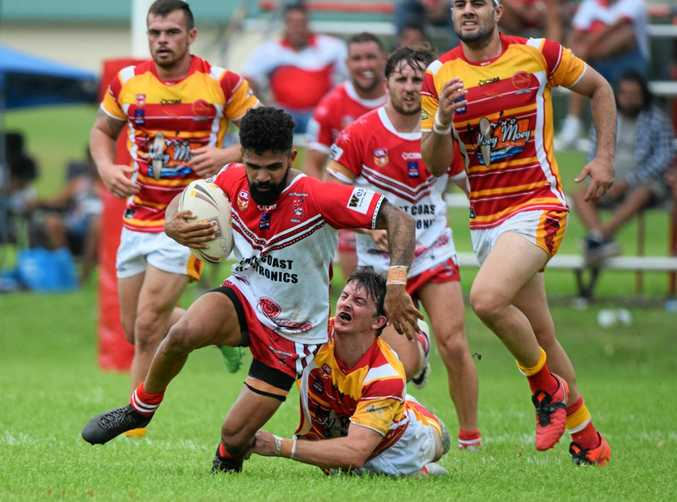 South Grafton Rebels halfback Kayan Davis scored a hat-trick in the opening game of the 2017 Group 2 season against the Coffs Harbour Comets at Geoff King Motors Park. 26 March 2017 Photo: Brad Greenshields/Coffs Coast Advocate