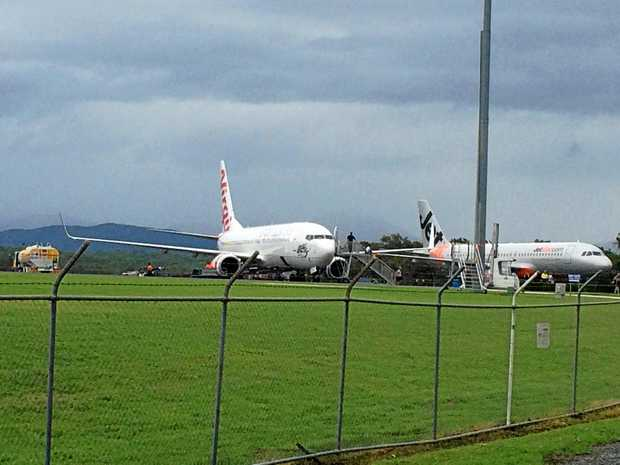 Planes grounded at Whitsunday Coast Airport today.