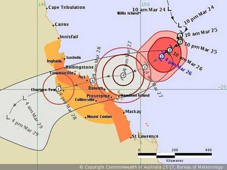 Cyclone Debbie's track map as at 5pm March 26, 2017.