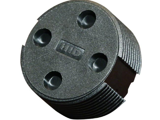 Example of an RFID bin tag, which are about the size of a 20c piece, and placed beneath the rim.