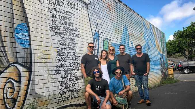 POPPED PLACEMAKING: Pictured in front of the Surf Alley honout roll are artist Teazer with Popped Creatives Abbie Hoffman and Monique Hartman, Councillor Paul Spooner and Mayor Simon Richardson. In front are artists Jeremy Austin and Nitsua.