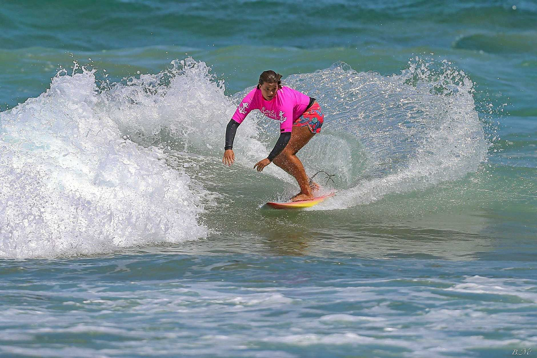 Grace Styman Lane will be surfing with her twin sister Audrey for DBah Boardriders together with Doyle twins Amiya and Brodie.