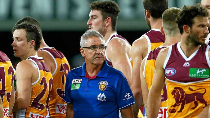 Lions coach Chris Fagan during the round one match between the Gold Coast Suns and the Brisbane Lions at Metricon Stadium