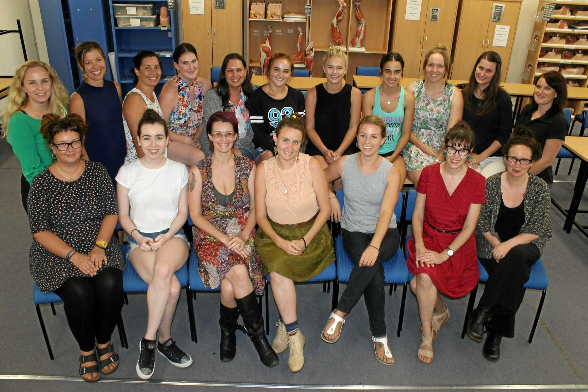 University of the Sunshine Coast Bachelor of Midwifery Program students. Back row, from left: Raelene O'Connor, Anita Campbell, Chawnlahnee Sunaklis, Mallory Hermann, Leanne Hodson, Abigail Leicht, Abbey Busby, Tahlia Avollo, Morgan Whitney, Hannah Guijt, Kylie Wiggett.Front row, from left: Victoria Kingsland Cheesbrough, Rebecca Finch, Angel Goulter, Charlo