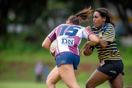 TOUGH TASK: Gympie's Jakara Miller tries to bring down a Noosa player.