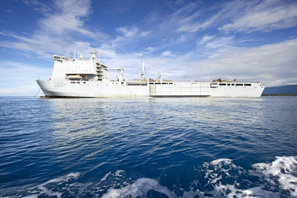 PREPARED: The Royal Australian Navy's Landing Ship Dock, HMAS CHOULES will be on standby.