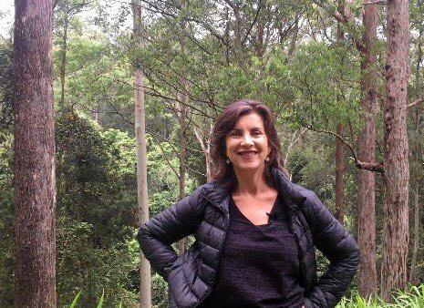 Green upper house member Dawn Walker in the native forests near the Kalang River.
