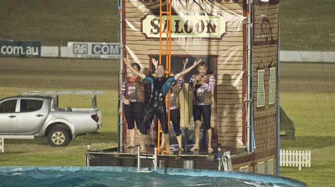 Cowboy dive show at the 2016 Toowoomba Royal Show .