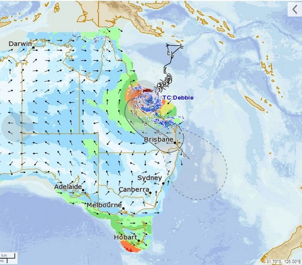 BOM release flood watch right down to NSW border as Cyclone Debbie crosses Queensland.
