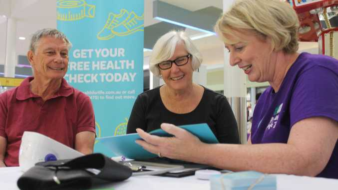LAUNCH OF MY HEALTH FOR LIFE: Malcolm and Karen Flint get a health assessment from Loral Courtney.