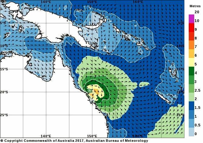 Wave Heights as a result of Cyclone Debbie have increased to up to 8m.