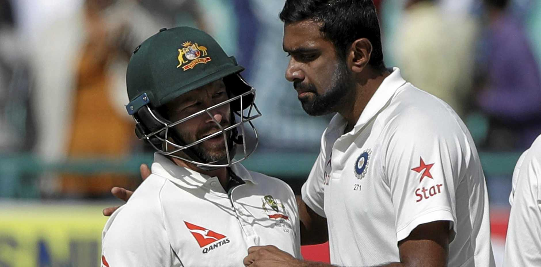 India's Ravichandran Ashwin and Matthew Wade have a few words on a fiery third day.