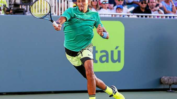 Nick Kyrgios of Australia in action against Ivo Karlovic of Croatia at the Miami Open at Key Biscayne.