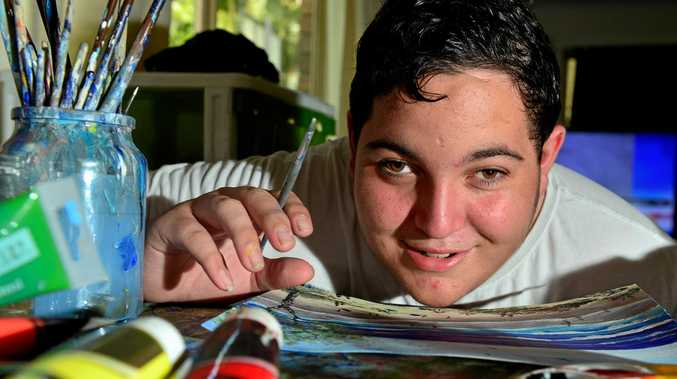 TALENTED: Blind artist and 17-year-old high school student James Norquay at home.