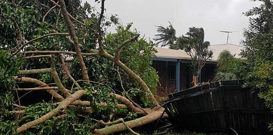 Damage to a fence form Cyclone Debbie.
