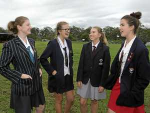 ErinAmy Smekel from Emmanuel Anglican College, Georgina Campbell from Clarence Valley Anglican School, Alexandra Hawes from Saint Columba Anglican School and Helena Morgan from Lindesfarne Anglican Grammar School at the debating competition at CVAS.