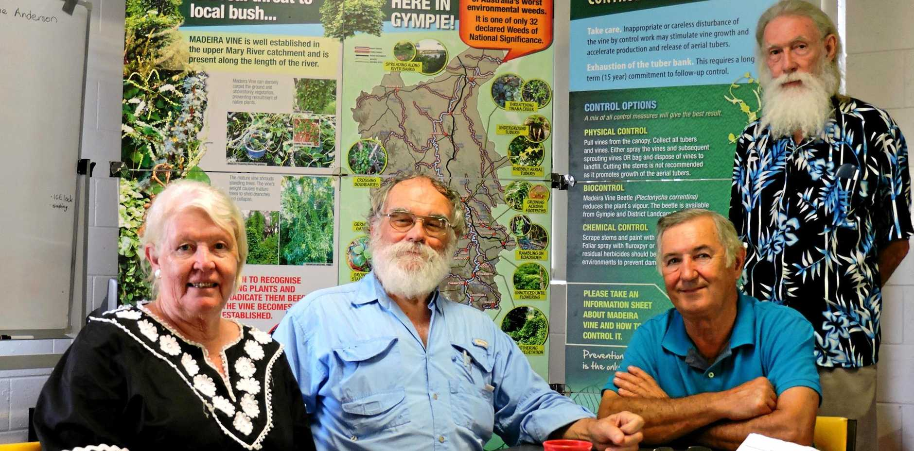 BACK AGAIN: Gympie Landcare office bearers re-elected for a further term were Gloria Robertson, Ernie Rider, David Rowlands and Kevin Jackson.