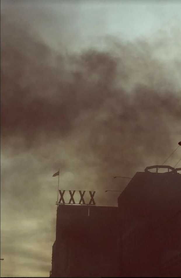 Smoke seen coming from the XXXX brewery. PIcture 9 News Queensland
