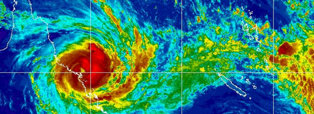 Cyclone Debbie as it approaches the Queensland coast at 5.30am on March 28.