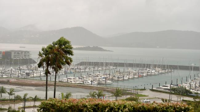 The marina at Airlie Beach full of all the boats called in as Cyclone Debbie approaches the coast