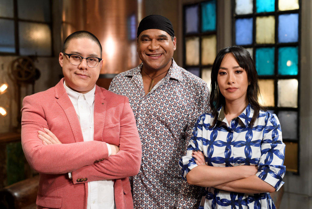 Chefs Dan Hong and Mark Olive and food writer Melissa Leong are judges on the new TV series The Chefs' Line.