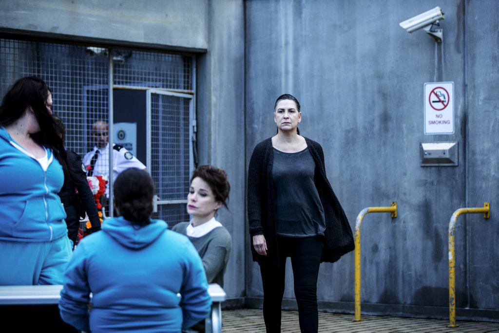 Pamela Rabe in a scene from the season five premiere of the TV series Wentworth.