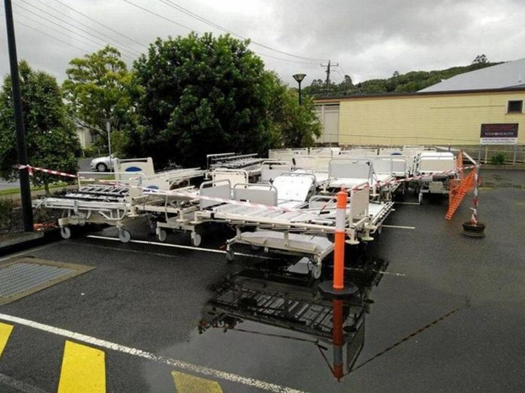 Hospital beds in the carpark at Lismore Base Hospital.