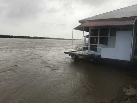 The deck at Maria's Donkey is just above the water and has stopped branches on the way out of the Pioneer River.