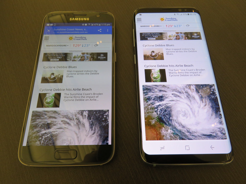 The Samsung Galaxy S7 and the new Galaxy S8 sit side by side.