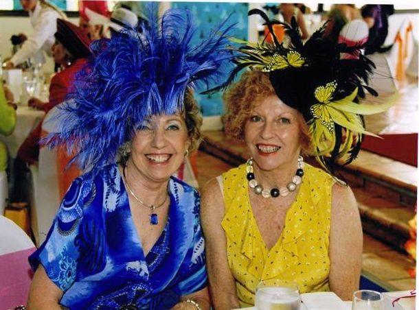 GLAMOUR: Patricia Balmer with fellow milliner Ann Boyle.
