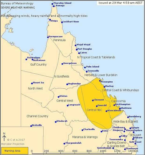 SEVERE WEATHER WARNING: Ex-Tropical Cyclone Debbie.