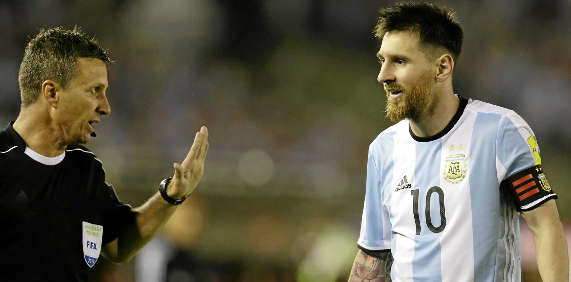 COSTLY CHAT: Lionel Messi's