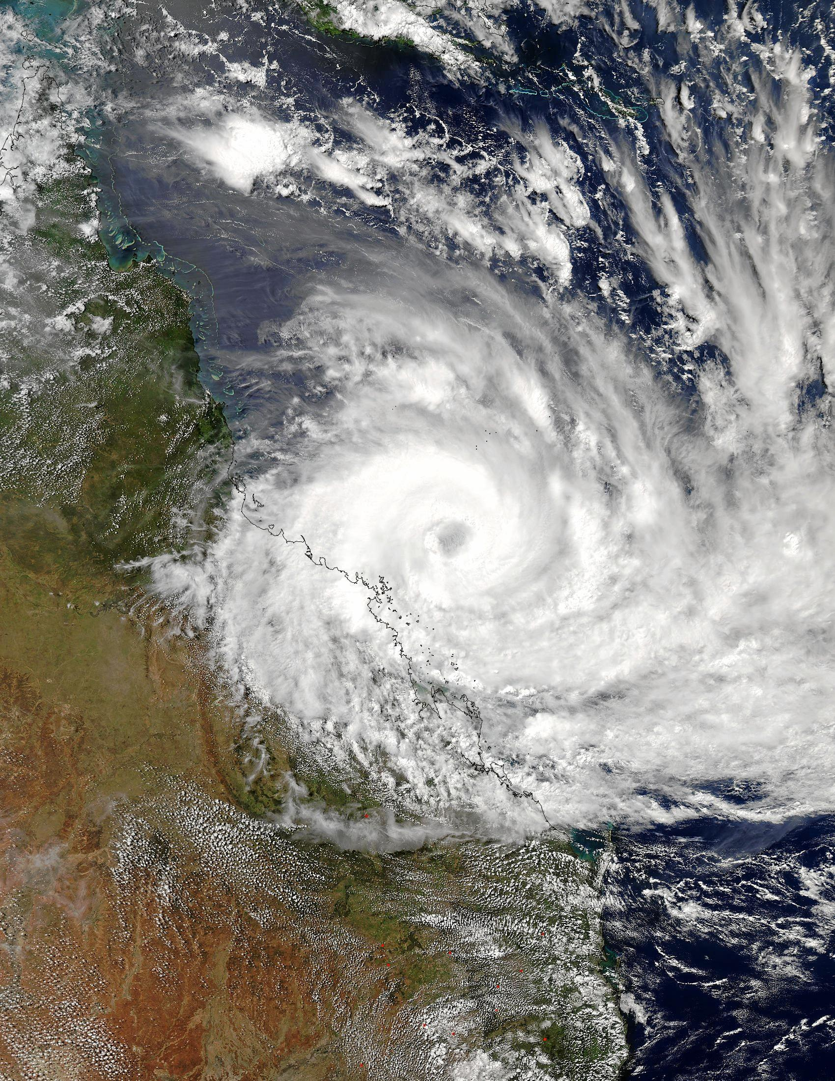 This is a visible image of Tropical Cyclone Debbie along the Queensland coast as seen from the MODIS instrument aboard NASA's Aqua Satellite. The image was taken on March 27 at 0350 UTC.
