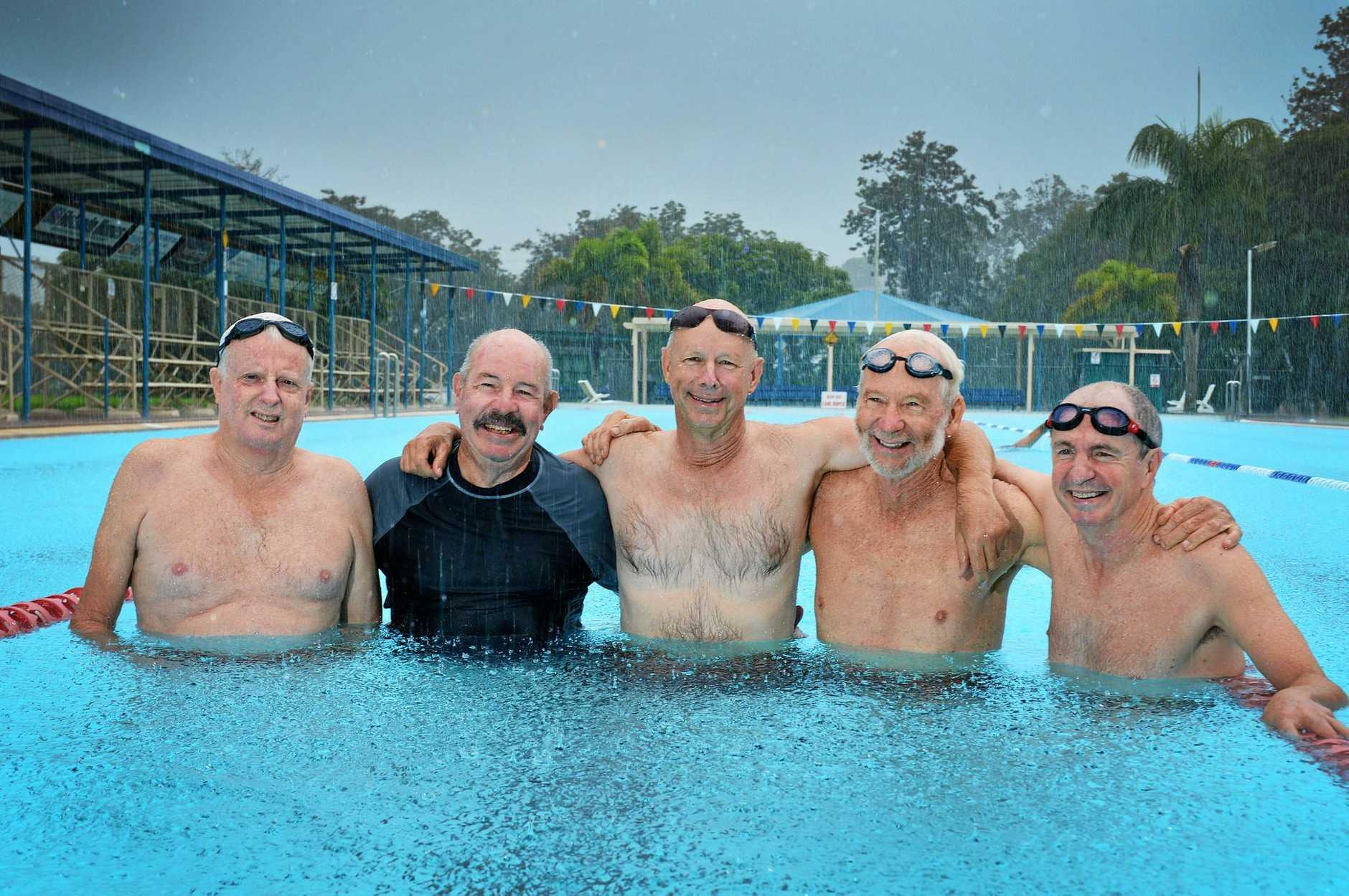 ONE LAST DIP: Memorial Pool swimmers Bob Knox, Bob Watson, Bob Fredman, Tim Frodsham, Paul Dixon.