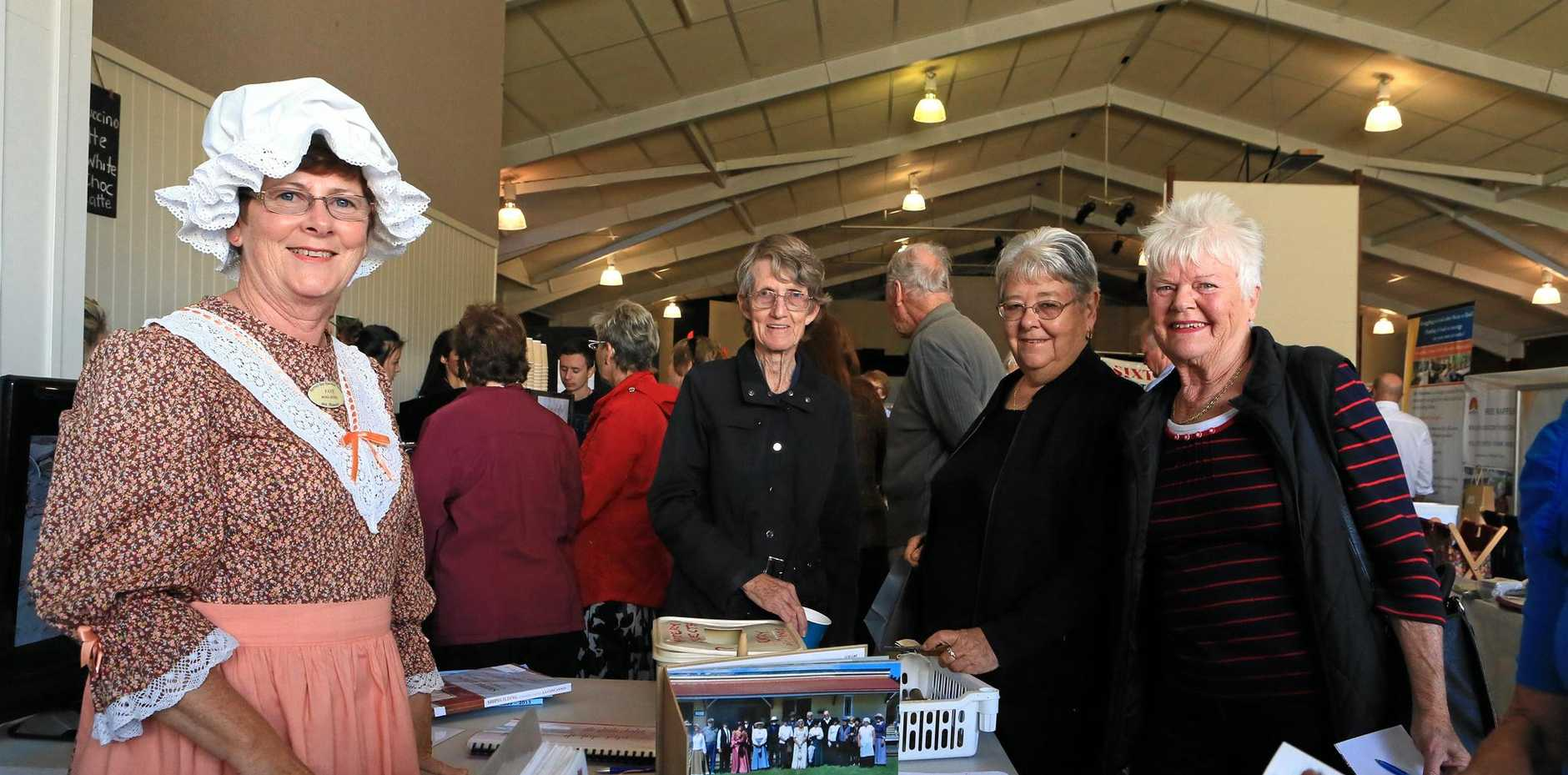 Hervey Bay Historical Village and Museum stall at the 2015 Fraser Coast Seniors Expo with Faye Ross-Jones, Edna Cheetham, Mavis Bennett and Beverly Brooker.