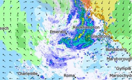 FLOODS: Ex-Cyclone Debbie is dumping down on Central Queensland.