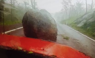 A resident posted a warning about a boulder on the road between Bowen and Collinsville. Source: Facebook